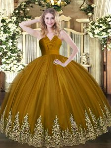 Smart V-neck Sleeveless Tulle Quince Ball Gowns Appliques Zipper
