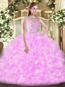Best Lilac Zipper Bateau Beading and Ruffles Vestidos de Quinceanera Tulle Sleeveless