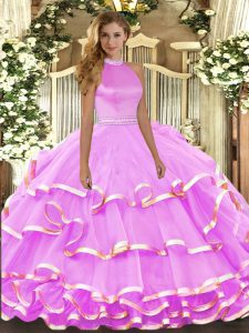 Halter Top Sleeveless Backless Sweet 16 Quinceanera Dress Lilac Organza