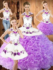 Captivating Floor Length Lilac Vestidos de Quinceanera Halter Top Sleeveless Lace Up