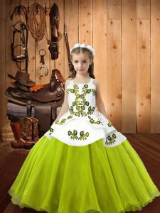Sleeveless Organza Floor Length Lace Up Little Girls Pageant Dress Wholesale in Yellow Green with Embroidery