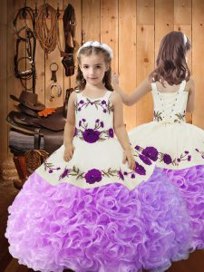 Straps Sleeveless Fabric With Rolling Flowers Little Girls Pageant Dress Wholesale Embroidery and Ruffles Lace Up