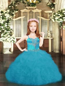 Fancy Aqua Blue Ball Gowns Spaghetti Straps Sleeveless Organza Floor Length Lace Up Beading and Ruffles and Pick Ups Little Girl Pageant Gowns