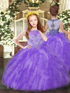Hot Selling Floor Length Zipper Kids Pageant Dress Lavender for Party and Quinceanera with Beading and Ruffles