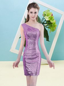 Lilac Zipper One Shoulder Sequins Sequined Sleeveless