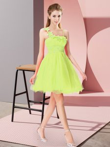 Fine Sleeveless Organza Mini Length Zipper Prom Evening Gown in Yellow Green with Beading and Hand Made Flower