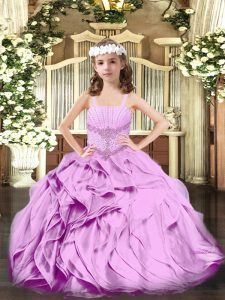 Lilac Straps Lace Up Beading and Ruffles Little Girls Pageant Dress Sleeveless
