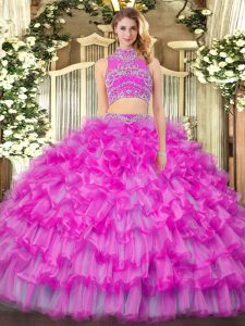 High-neck Sleeveless Tulle Vestidos de Quinceanera Beading and Ruffled Layers Backless