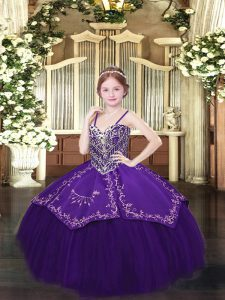 Dark Purple Ball Gowns Satin and Organza Spaghetti Straps Sleeveless Beading and Embroidery Floor Length Lace Up Pageant Dress Toddler