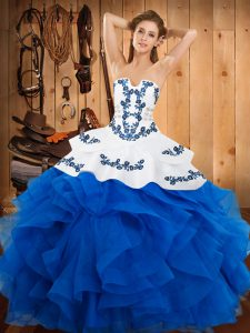 60d40ce3aff Lovely Satin and Organza Sleeveless Floor Length Ball Gown Prom Dress and  Embroidery and Ruffles