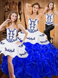Blue And White Sleeveless Floor Length Embroidery and Ruffles Lace Up Party Dresses