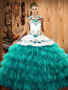 Sophisticated Turquoise Lace Up 15th Birthday Dress Embroidery and Ruffled Layers Sleeveless Floor Length