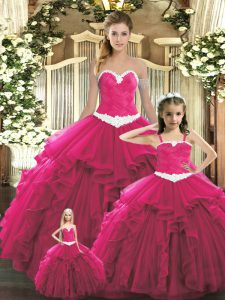 Popular Red Ball Gowns Ruffles 15th Birthday Dress Lace Up Organza Sleeveless Floor Length