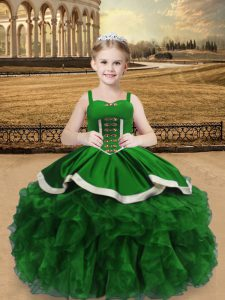 Straps Sleeveless Little Girls Pageant Dress Floor Length Beading and Ruffles Green Satin and Organza