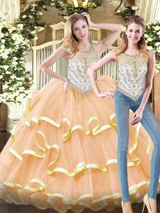 Fine Sleeveless Floor Length Beading and Ruffled Layers Zipper Quinceanera Gowns with Peach