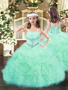 Apple Green Little Girls Pageant Dress Party and Quinceanera with Beading and Ruffles and Pick Ups Straps Sleeveless Lace Up