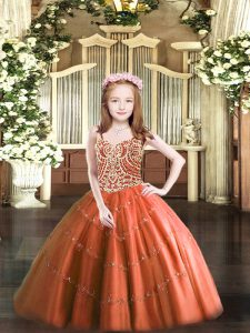 Straps Sleeveless Winning Pageant Gowns Floor Length Beading Rust Red Tulle