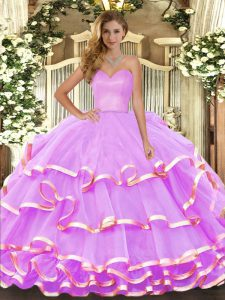 Floor Length Lilac 15 Quinceanera Dress Sweetheart Sleeveless Lace Up