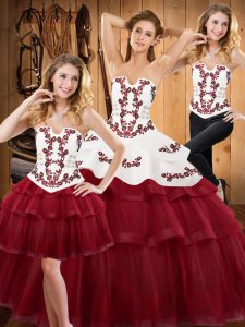 Attractive Burgundy Strapless Lace Up Embroidery and Ruffled Layers Vestidos de Quinceanera Sweep Train Sleeveless