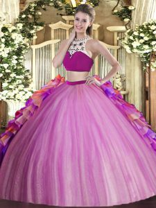 Enchanting Lilac Tulle Backless High-neck Sleeveless Floor Length 15th Birthday Dress Beading and Ruffles