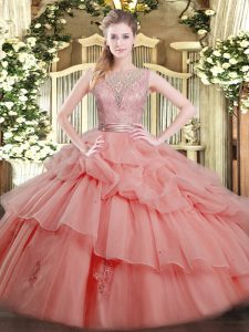 Luxury Watermelon Red Ball Gowns Scoop Sleeveless Tulle Floor Length Backless Beading and Ruffled Layers 15 Quinceanera Dress