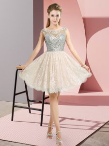 Lace Cap Sleeves Mini Length Prom Gown and Beading
