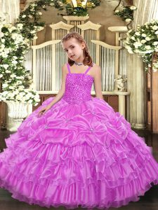 Lilac Sleeveless Beading and Ruffled Layers and Pick Ups Floor Length Little Girls Pageant Dress Wholesale