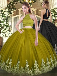 Beauteous Tulle Halter Top Sleeveless Backless Beading and Appliques Sweet 16 Dress in Olive Green