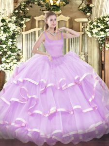 Lilac Straps Zipper Beading and Ruffled Layers Quince Ball Gowns Sleeveless