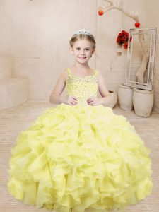 Graceful Sleeveless Organza Floor Length Lace Up Girls Pageant Dresses in Light Yellow with Beading and Ruffles