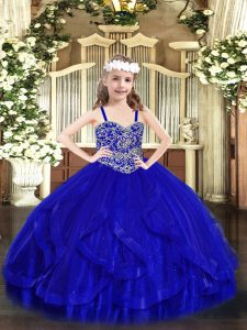 Royal Blue Ball Gowns Straps Sleeveless Tulle Floor Length Lace Up Beading and Ruffles Little Girl Pageant Dress