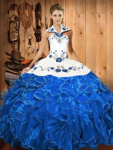 Exquisite Halter Top Sleeveless Lace Up Sweet 16 Quinceanera Dress Blue And White Satin and Organza