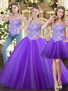 Romantic Tulle Sleeveless Floor Length Quinceanera Dress and Beading