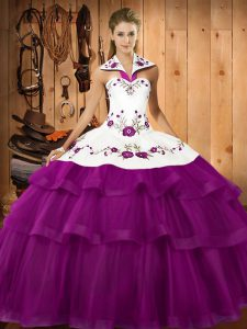 Admirable Eggplant Purple Sleeveless Sweep Train Embroidery and Ruffled Layers Ball Gown Prom Dress