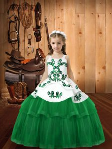 New Arrival Tulle Sleeveless Floor Length Kids Formal Wear and Embroidery