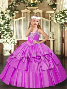 Excellent Sleeveless Floor Length Beading and Ruffled Layers Lace Up Little Girls Pageant Dress with Lilac