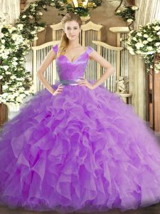 Stunning Ball Gowns Quinceanera Dress Lilac V-neck Organza Sleeveless Floor Length Zipper