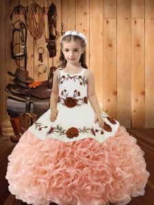 Cheap Peach Ball Gowns Fabric With Rolling Flowers Straps Sleeveless Embroidery and Ruffles Floor Length Lace Up Girls Pageant Dresses