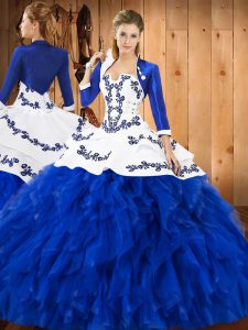Blue And White Lace Up Quinceanera Gown Embroidery and Ruffles Sleeveless Floor Length