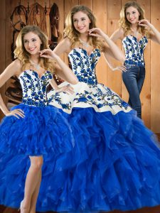 Amazing Blue Three Pieces Sweetheart Sleeveless Satin and Organza Floor Length Lace Up Embroidery and Ruffles 15 Quinceanera Dress