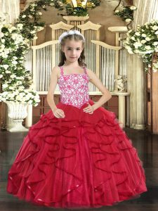 Coral Red Straps Lace Up Beading and Ruffles Glitz Pageant Dress Sleeveless