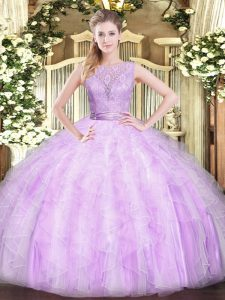 Popular Floor Length Lilac Ball Gown Prom Dress Scoop Sleeveless Backless