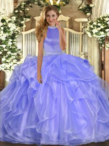 Fancy Floor Length Lavender Vestidos de Quinceanera Halter Top Sleeveless Backless