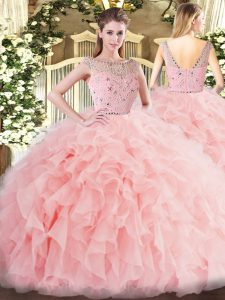High End Sleeveless Tulle Floor Length Zipper 15th Birthday Dress in Baby Pink with Beading and Ruffles