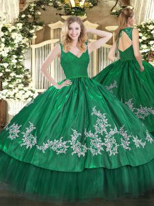 Dark Green Ball Gowns Beading and Lace and Appliques Sweet 16 Dresses Backless Taffeta Sleeveless Floor Length