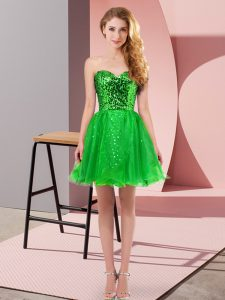 Sweetheart Sleeveless Tulle Prom Party Dress Sequins Zipper