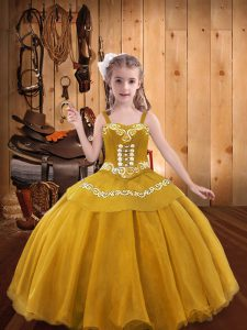 Modern Gold Pageant Dress for Teens Party and Sweet 16 and Quinceanera and Wedding Party with Embroidery Straps Sleeveless Lace Up