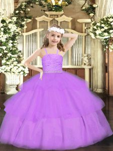 Fashionable Lavender Straps Neckline Beading and Lace Pageant Gowns For Girls Sleeveless Zipper