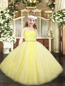 Custom Made Beading and Lace Girls Pageant Dresses Yellow Zipper Sleeveless Floor Length