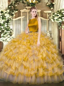 Free and Easy Gold 15th Birthday Dress Military Ball and Sweet 16 and Quinceanera with Ruffled Layers Scoop Sleeveless Clasp Handle